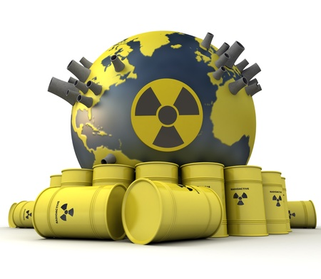 3D rendering of the Earth with nuclear power stations surrounded by barrels of nuclear waste  photo