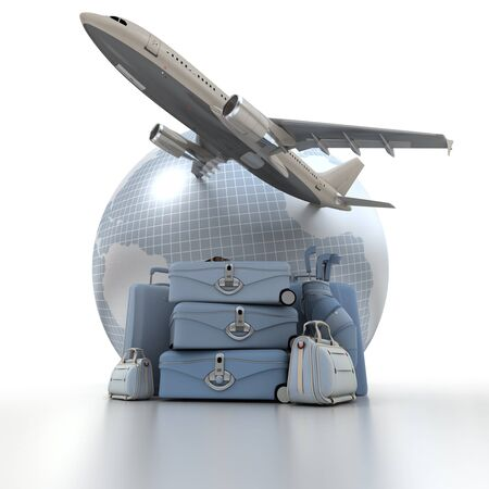 A flying plane, the Earth and a pile of luxurious luggage rendered in blue shades Stock Photo