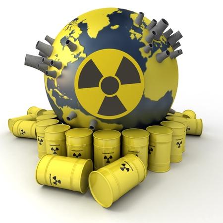 residuos toxicos: Representación 3D de la Tierra con las centrales nucleares rodeado de barriles de residuos nucleares Foto de archivo