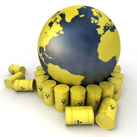nuclear waste:  The Earth, oriented to the Atlantic surrounded by barrels of nuclear waste