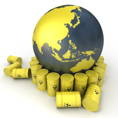 environmental issue:  The Earth, oriented to Asia surrounded by barrels of nuclear waste