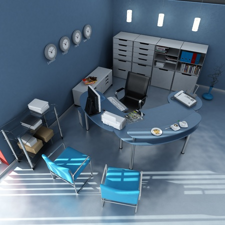 3D rendering of an office interior in blue and gray shades  photo