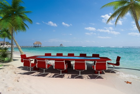 press conference: 3D rendering of a meeting room in a beautiful tropical beach Stock Photo