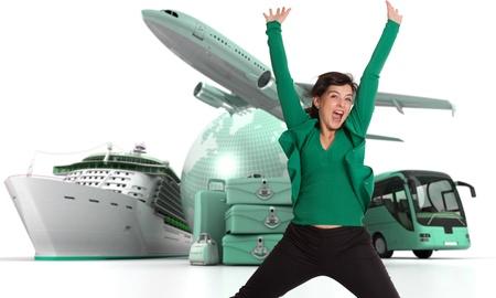 agencia de viajes: Mujer feliz celebrando su partida en una gira mundial