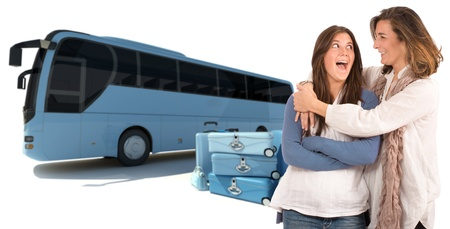 coach bus: A mom hugging her teenage daughter with a shuttle bus and luggage on the background