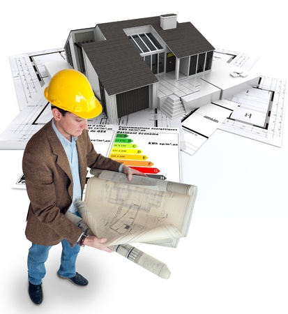 realization:  Architect , blueprints a house and an energy efficiency chart   Stock Photo