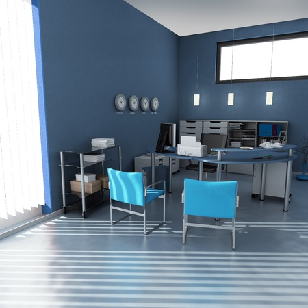 3D rendering of an office interior in blue and gray shades  Stock Photo - 13116655