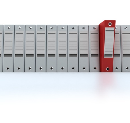 filing documents: 3D rendering of a line of office ring binders with one sticking out Stock Photo