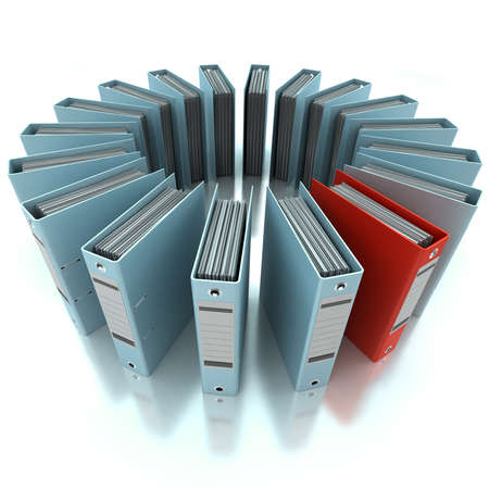 filing system: 3D rendering of a circular composition of office ring binders