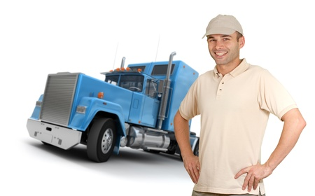 delivery driver: Isolated image of a man in front of a trailer truck Stock Photo