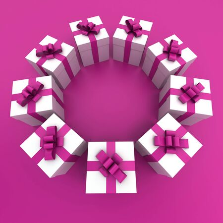 3D rendering of a circle of giftboxes in pink and white Stock Photo - 13116483