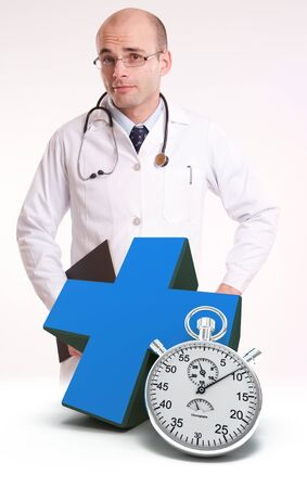 Doctor, a blue cross and a chronometer Stock Photo - 13196711