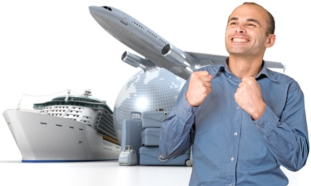 first plane: Happy man celebrating his departure on a world tour