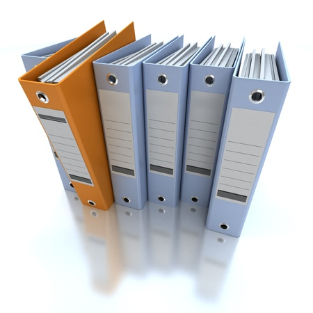 binders: 3D rendering of a line of office ring binders with one sticking out Stock Photo
