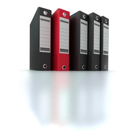 3D rendering of a line of office ring binders with one sticking out photo