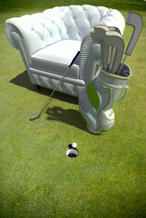 Club armchair with golf material in the green  photo