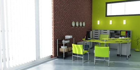 office interior design:  3D rendering of an office interior in blue and gray shades