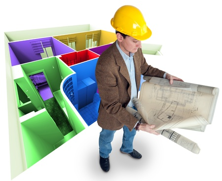 Architect looking at his plans with a roofless colorful apartment   photo