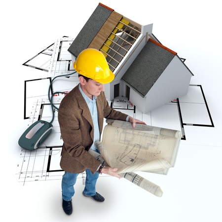 An architect, blueprints and a house in construction connected to a computer mouse  photo