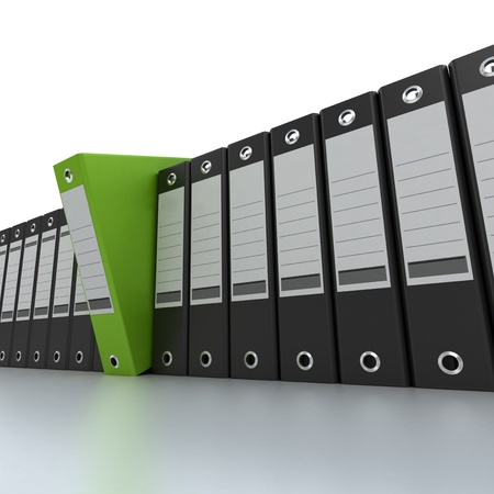 3D rendering of a line of office ring binders with one sticking out Stock Photo - 13230435