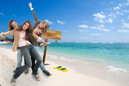 joking: A group of happy celebrating women in an exotic travel background