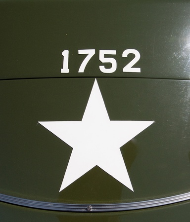 ii: Star shape and Identification number painted  in World war II US army vehicle