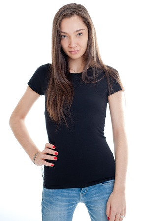 Standing young woman wearing jeans and a black t-shirt photo