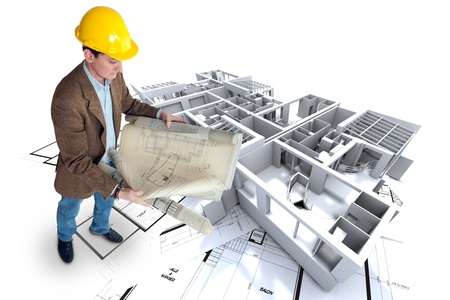 modern office: Architect looking at his plans with a roofless office   apartment structure