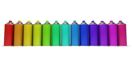 Aluminum spray cans in differently colors photo
