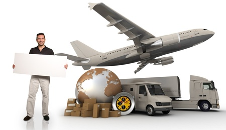 goods: A man holding a blank message board with the world, piles of packages, truck, van and airplane on the background Stock Photo