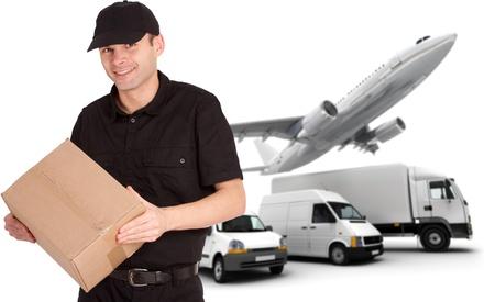 shipment parcel: A messenger holding a package and a transportation fleet