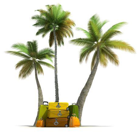 Island like composition showing tropical vegetation and beautiful luggage  photo