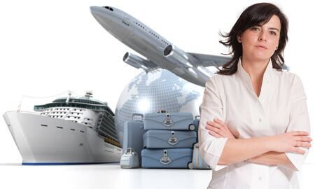 first plane: Attractive woman with an international tourism background