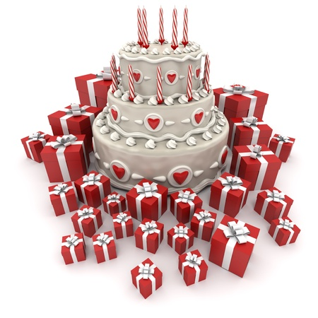 3D rendering of a three tiered cake with candles surrounded by gift boxes photo