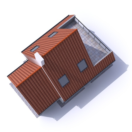 roof tile: 3D architecture model of a house, aerial view