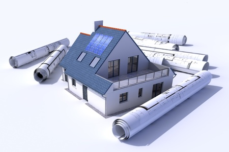 architecture project: 3D rendering of a house with solar panels on the roof surrounded by rolls of blueprints Stock Photo