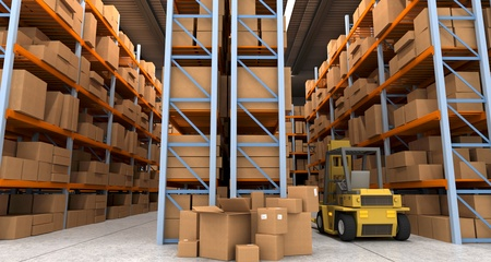 3D rendering of a distribution warehouse with shelves, racks, boxes, and forklift photo