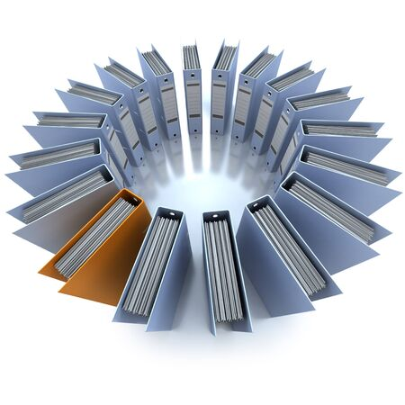 3D rendering of a circular composition of office ring binders, aerial view photo