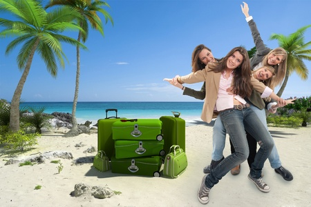A group of happy celebrating women in an exotic travel background Stock Photo - 13253520