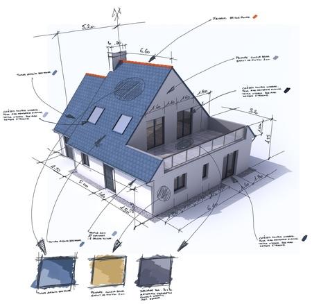 specifiche: 3D rendering di una casa con le note, il design e le specifiche tecniche
