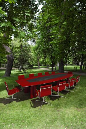 garden staff: 3D rendering of a meeting room in a park