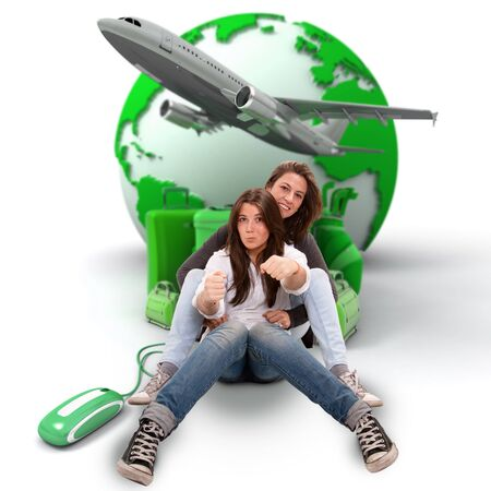Mother and daughter pretending to drive with an online international travel booking background photo