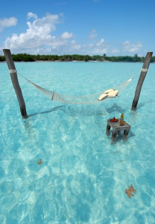 Hammock hanging over tropical sea water, and a table with refreshments photo
