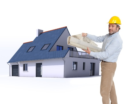 construction plan: Architect with blueprints and a residential architecture model
