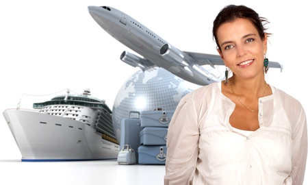 Attractive woman with an international tourism background photo