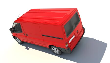 3D rendering of a red transportation van with no brand name (aerial view)