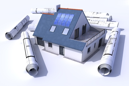 desing: 3D rendering of a house with solar panels on the roof surrounded by rolls of blueprints Stock Photo