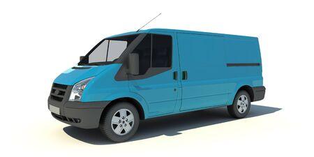 transporter:   3D rendering of a blue transportation van with no brand name