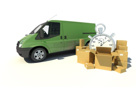 merchandise:  3D rendering of a green van, a pile of boxes and a chronometer