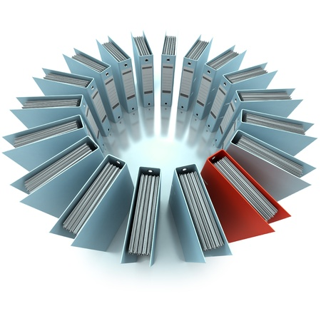 filing system: 3D rendering of a circular composition of office ring binders, aerial view